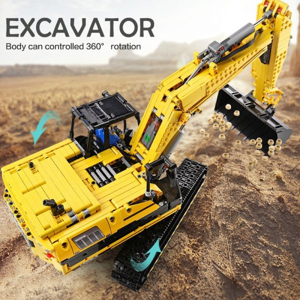Mould King 13112 Technic Motorized Excavator Truck Link Belt 250 X 3 Pf Version Car Model 5