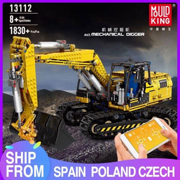Mould King 13112 Technic Motorized Excavator Truck Link Belt 250 X 3 Pf Version Car Model
