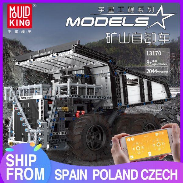Mould King 13170 Technic Series Liebher Terex T284 Mining Excavator Dump Truck Model 29699 Motor Car
