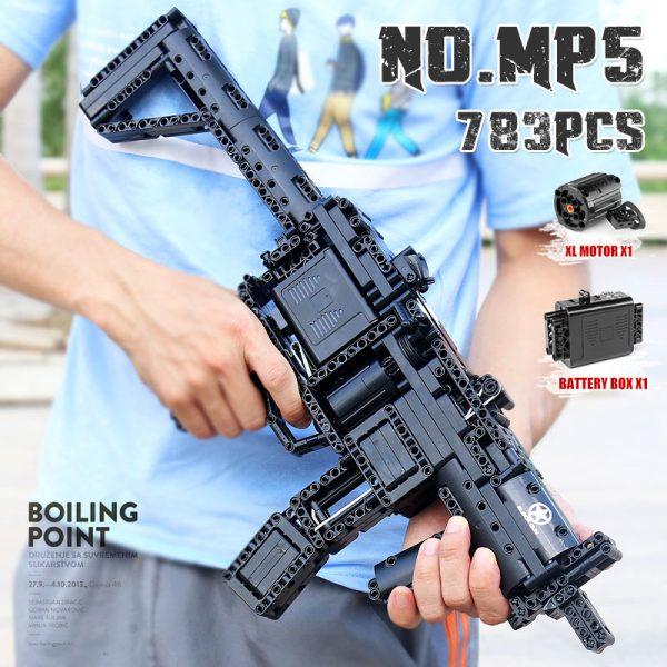 Mould King 14001 Motorized Block Gun With Moc 29369 Mp5 Submachine Gun Model Building Blocks Bricks 1