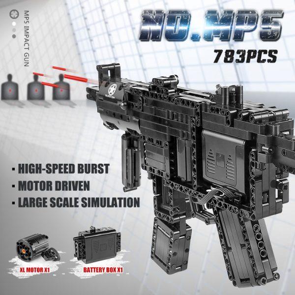 Mould King 14001 Motorized Block Gun With Moc 29369 Mp5 Submachine Gun Model Building Blocks Bricks 4