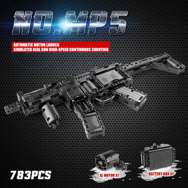 Mould King 14001 Motorized Block Gun With Moc 29369 Mp5 Submachine Gun Model Building Blocks Bricks 5