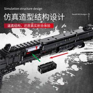 Mould King 14003 Assembly Block Gun The Benelli M4 Super 90 Weapon Automatic Gun Model Building 2