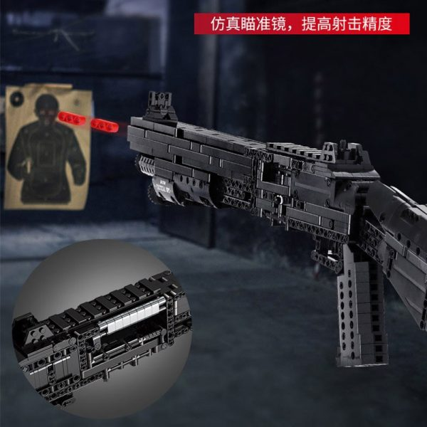 Mould King 14003 Assembly Block Gun The Benelli M4 Super 90 Weapon Automatic Gun Model Building 4