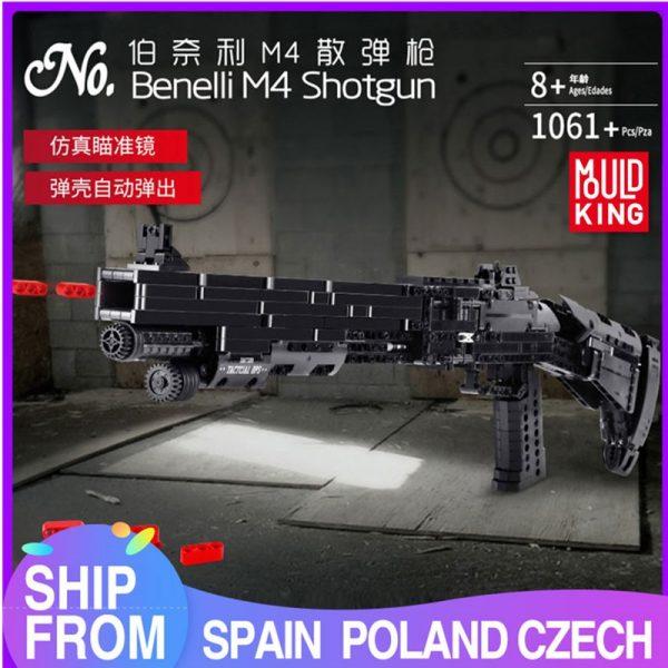 Mould King 14003 Assembly Block Gun The Benelli M4 Super 90 Weapon Automatic Gun Model Building