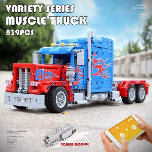 Mould King 15001 Technic The Peterbilt 389 Heavy Container Remote Control Truck Assembly Kits Building Blocks 5