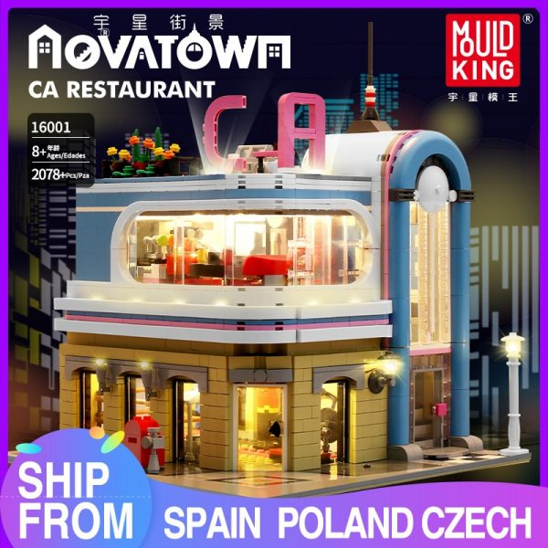 Mould King 16001 City Streetview Toys The Downtown Diner Model Sets Assembly Bricks Building Blocks Kids