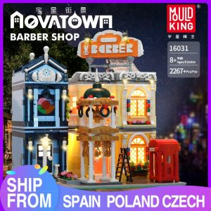 Mould King 16031 Streetview Building Blocks The Barber Shop In Town Model With Led Light Assembly