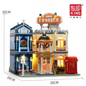 Mould King 16031 Streetview Building Blocks The Barber Shop In Town Model With Led Light Assembly 5