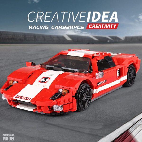 Mould King Moc Technic Car Toys Red Phanton Fords Gt Racing Car Model 10001 Building Blocks 1