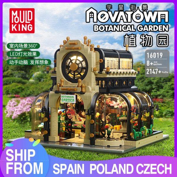 Mould King Streetview Building Toys Model The Moc Botanical Garden With Led Lights Set 16019 Blocks