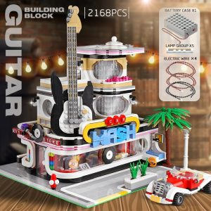 Mould King Streetview Building Toys Model The Moc Guitar Shop With Led Light Set 16002 Building 1