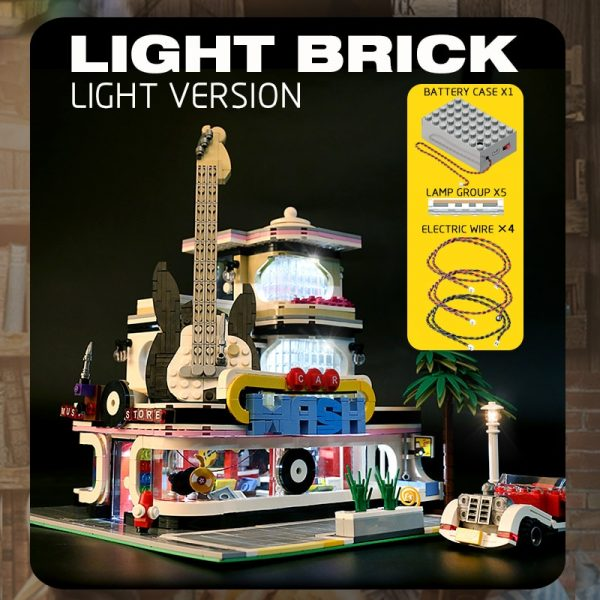Mould King Streetview Building Toys Model The Moc Guitar Shop With Led Light Set 16002 Building 2