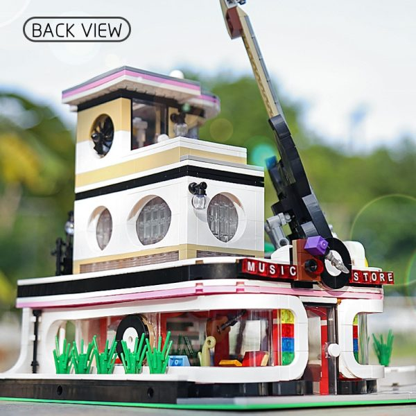Mould King Streetview Building Toys Model The Moc Guitar Shop With Led Light Set 16002 Building 3