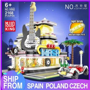 Mould King Streetview Building Toys Model The Moc Guitar Shop With Led Light Set 16002 Building