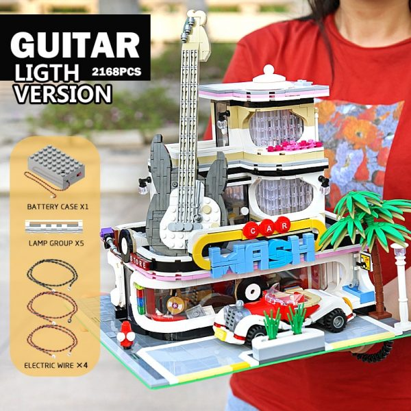 Mould King Streetview Building Toys Model The Moc Guitar Shop With Led Light Set 16002 Building 5