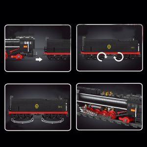 Mould King 12003 City Series The Qj Steam Locomotives Remote Control Train Building Blocks Bricks Kids 4