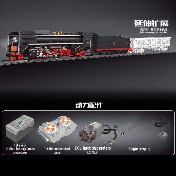 Mould King 12003 City Series The Qj Steam Locomotives Remote Control Train Building Blocks Bricks Kids 5