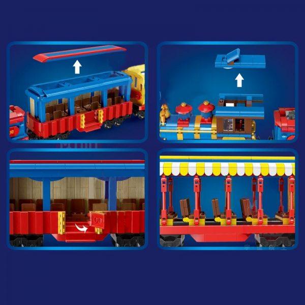 Mould King 12004 City Series The Mkingland Dream Train Remote Control Train Building Blocks Bricks Kids 4