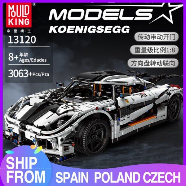Mould King 13120 Technic Series Koenigsegged Sports Racing White Car Model Building Blocks Bricks 23002 Kids