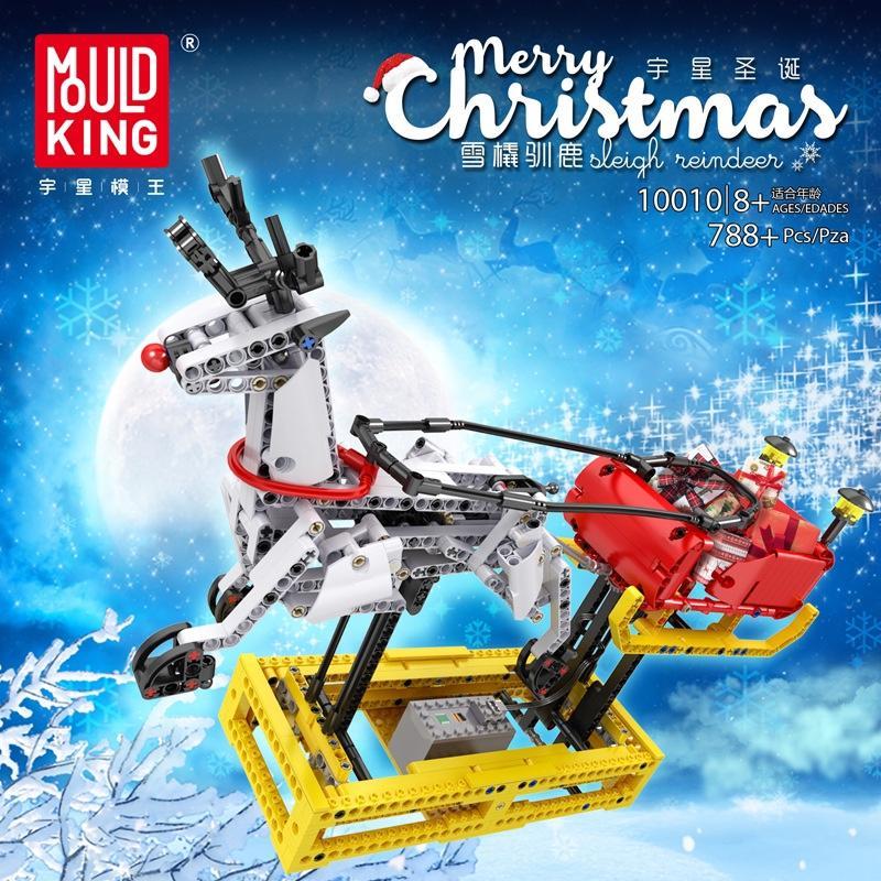 MOULD KING 10010 Merry Christmas Sleigh Reindeer