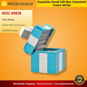 Mocbrickland Moc 89838 Exquisite Small Gift Box Clamshell Green White (2)