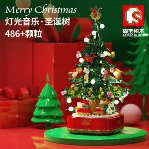 Sembo 601097 Chrismas Tree Music Box With Lights (1)